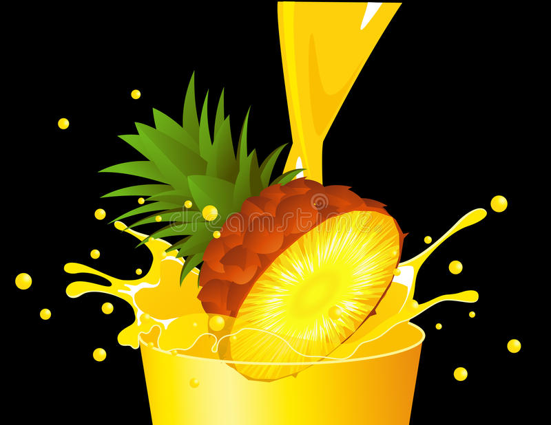 Download Pineapple falling in juice stock vector. Illustration of gourmet - 14854175