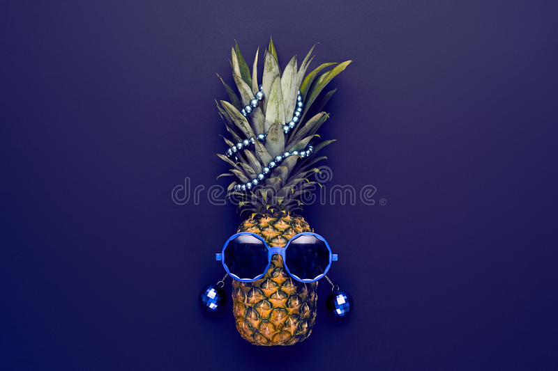 Pineapple Fashion Hipster Party Mood. Art Gallery. Pineapple Fruit Fashion Hipster. Hot Summer Glamour Beach Vibes. Beach Art Gallery Design.Creative Fun Art royalty free stock images