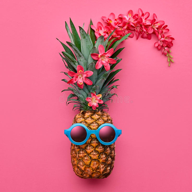 Pineapple Fashion Hipster. Tropical Summer Mood stock photo