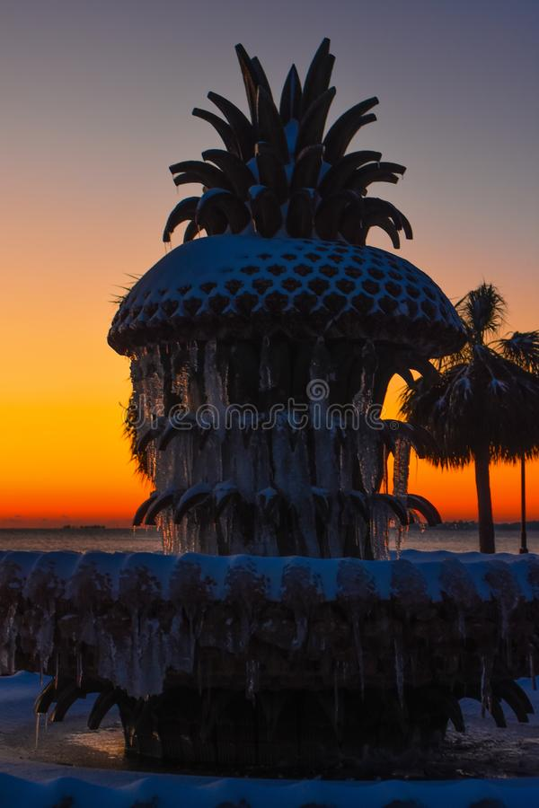 Pineapple Fountain at Waterfront Park, Charleston, SC. stock photo
