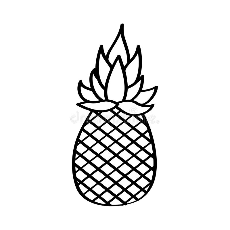 Pineapple Fresh Fruit Drawing Icon Stock Vector