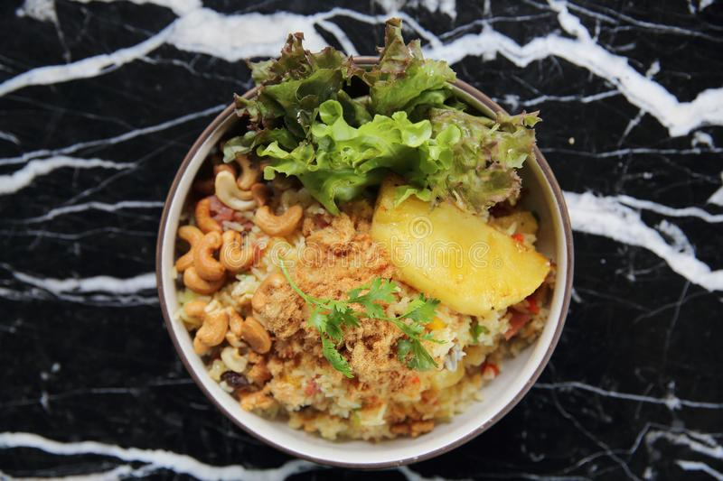 Pineapple fried rice Asian food. On a bowl stock photo