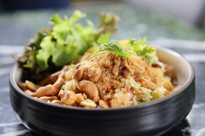 Pineapple fried rice Asian food. On a bowl stock photography