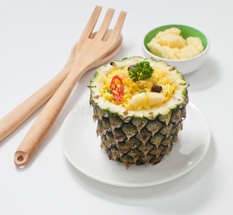 Pineapple Fried Rice. Inside the pineapple fruit royalty free stock photography