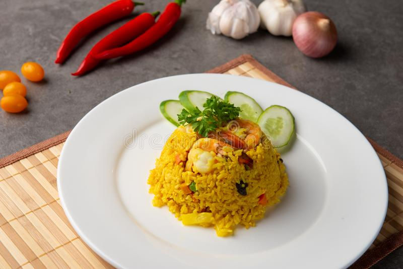 Pineapple fried rice. With background stock photos