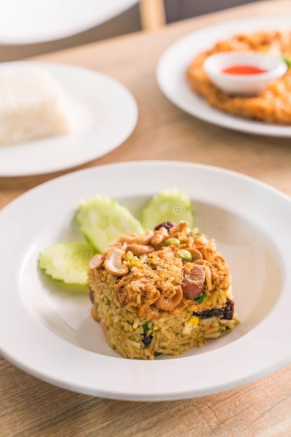 Pineapple fried rice. On plate royalty free stock photography