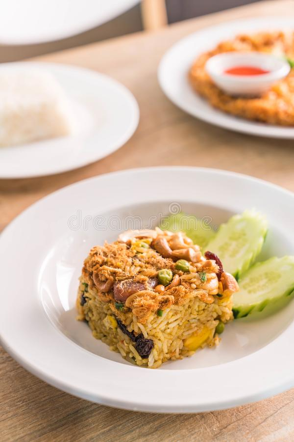 Pineapple fried rice. On plate stock image