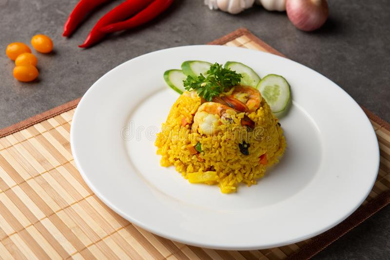 Pineapple fried rice. In restaurant stock images