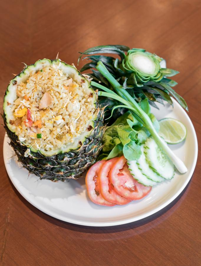 Pineapple fried rice. Serve in whole pineapple royalty free stock photos