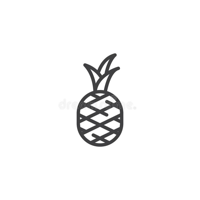 Pineapple fruit line icon. Linear style sign for mobile concept and web design. Pineapple with leaves outline vector icon. Symbol, logo illustration. Vector royalty free illustration