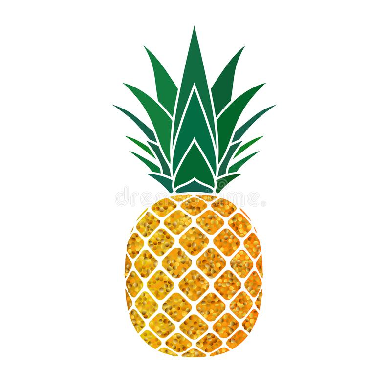 Pineapple golden with green leaf. Tropical gold exotic fruit isolated white background. Symbol of organic food, summer. Vitamin, healthy. Nature logo. Design vector illustration