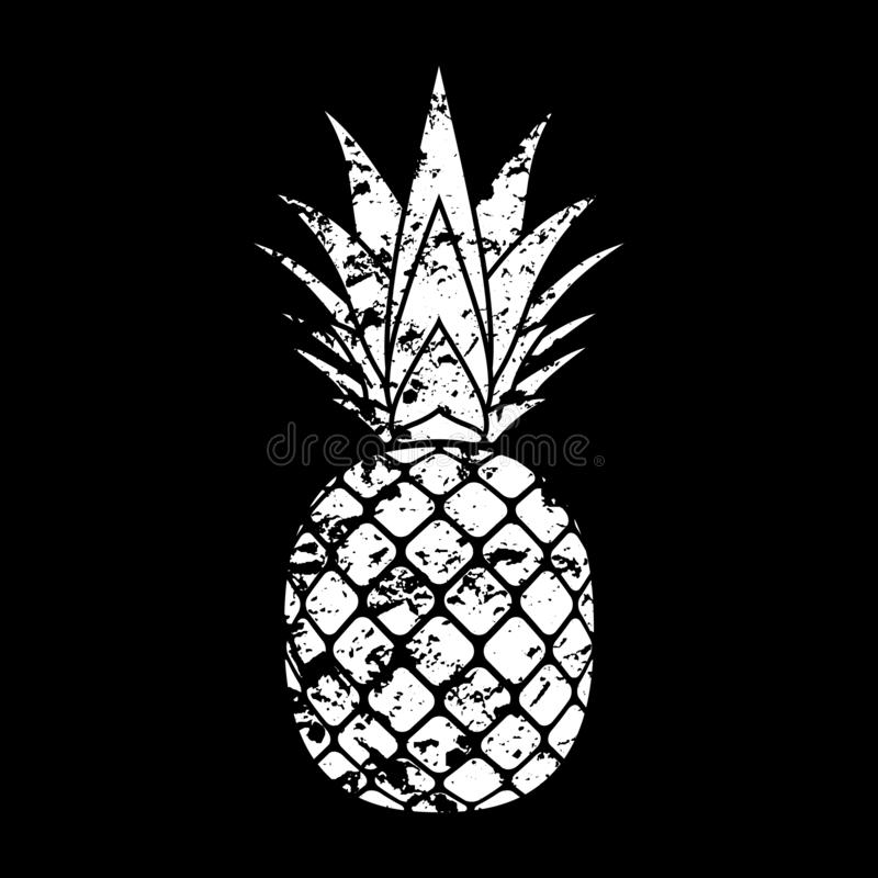 Pineapple grunge with leaf. Tropical exotic fruit isolated black background. Symbol of organic food, summer, vitamin stock illustration