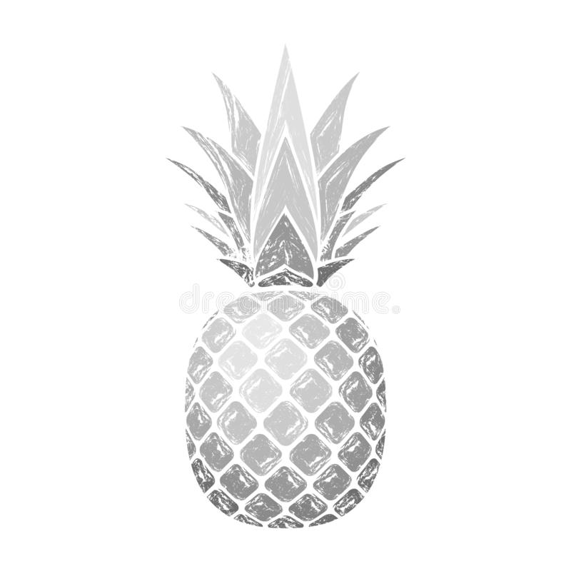 Pineapple grunge with leaf. Tropical exotic fruit isolated white background. Symbol of organic food, summer, vitamin vector illustration