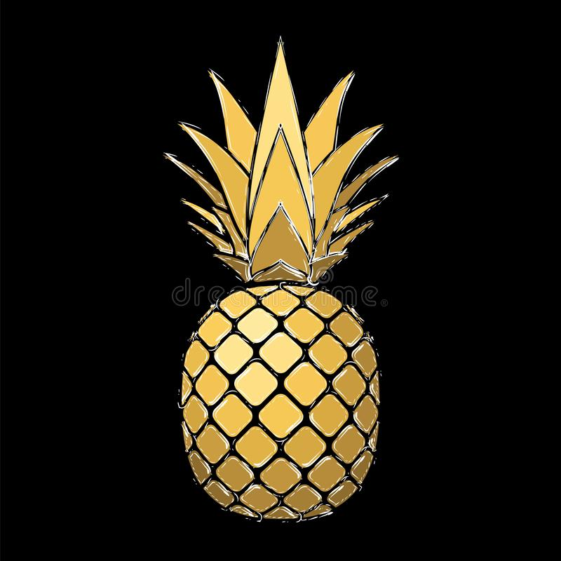 Pineapple grunge with leaf. Tropical gold exotic fruit isolated black background. Symbol of organic food, summer royalty free illustration