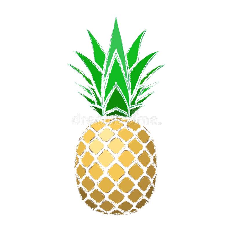 Pineapple grunge with leaf. Tropical gold exotic fruit isolated white background. Symbol of organic food, summer vector illustration