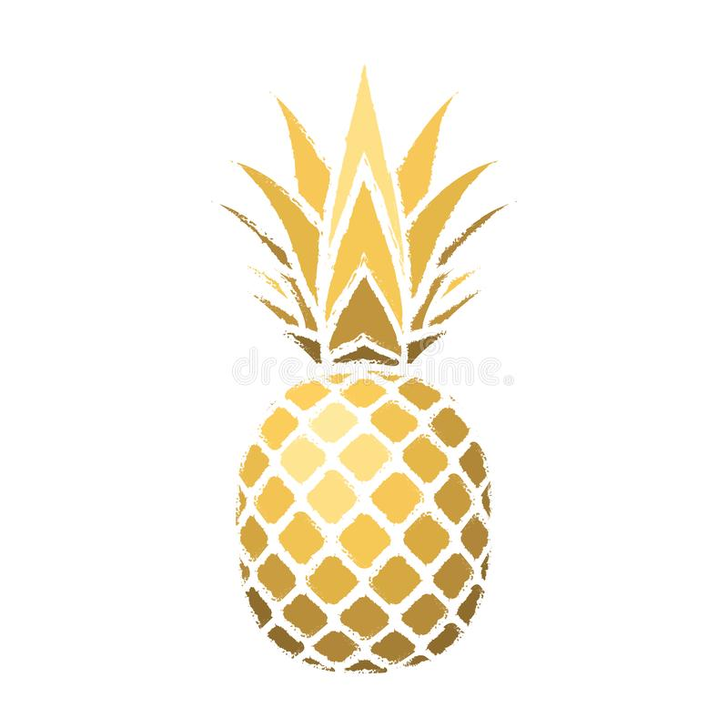 Pineapple grunge with leaf. Tropical gold exotic fruit isolated white background. Symbol of organic food, summer royalty free illustration