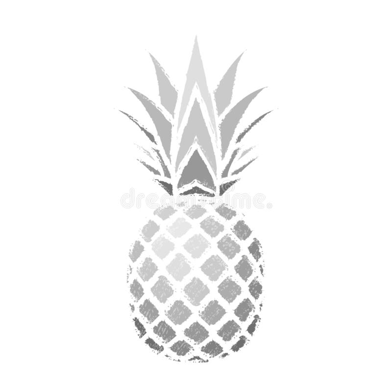 Pineapple grunge with leaf. Tropical silver exotic fruit isolated white background. Symbol of organic food, summer stock illustration