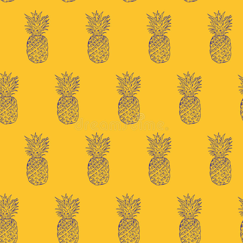 Pineapple Hand drawn sketch, grunge outline vector seamless pattern, sketch drawing illustration print. pop art style colorfull ba stock illustration