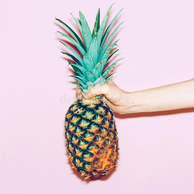 Download Pineapple in hand stock photo. Image of fancy, fool, pink - 51865170