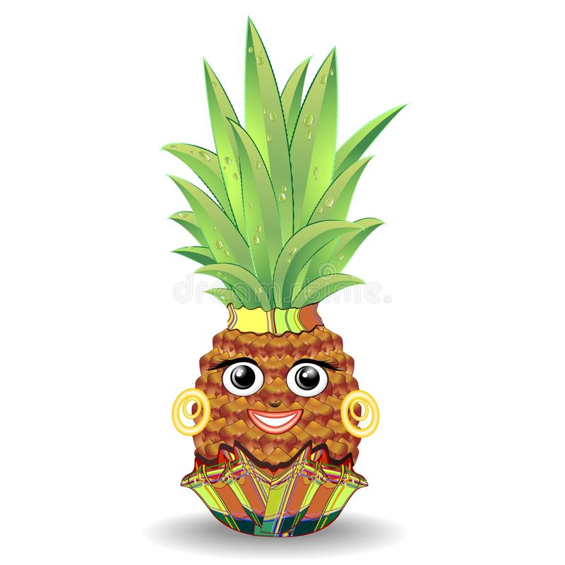 Download Pineapple Happy Face stock vector. Image of fresh, lady - 70992685