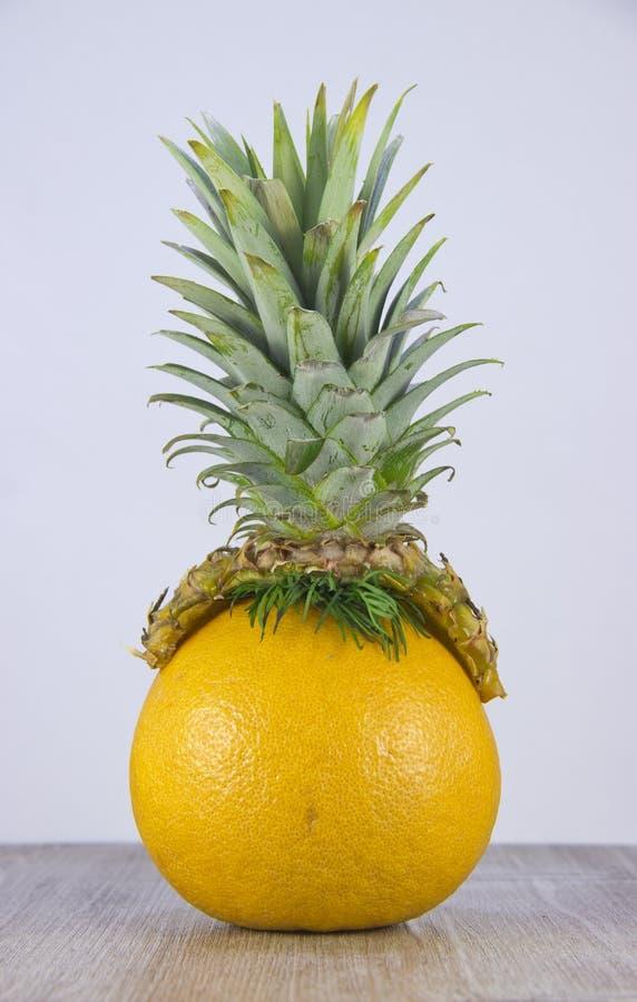 Pineapple hat on grapefruit. stock image