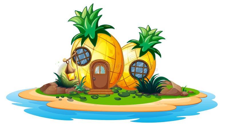 Pineapple house on island. Illustration vector illustration