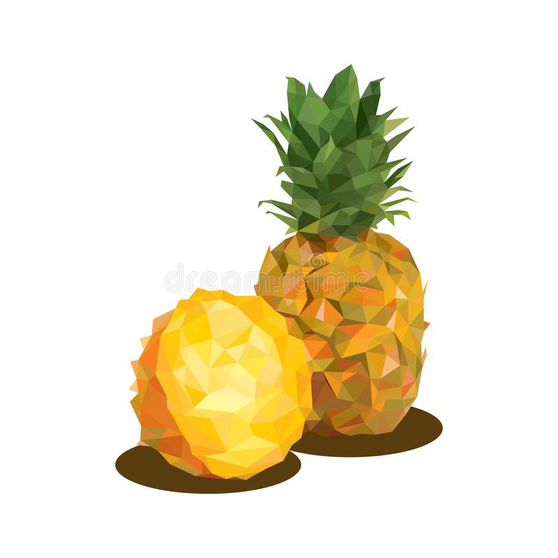 Pineapple, Illustration of Fruit. Polygonal Art. Can be Used for reference learning for students toddlers royalty free illustration