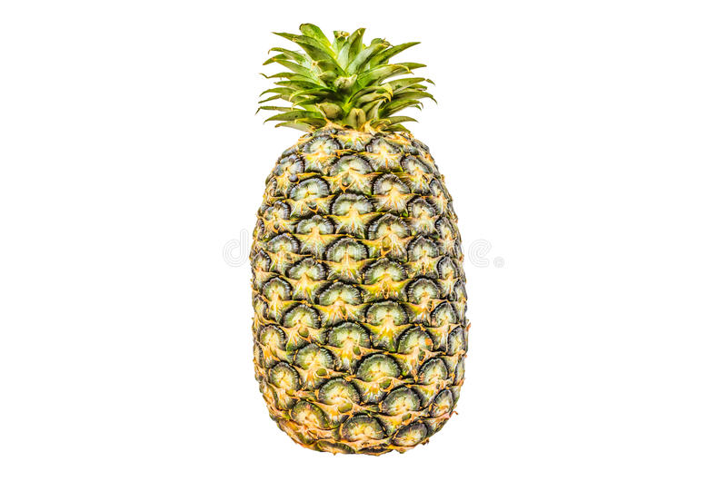 Pineapple isolated white background with clippingpath. A large juicy tropical fruit consisting of aromatic edible yellow flesh surrounded by a tough segmented royalty free stock images