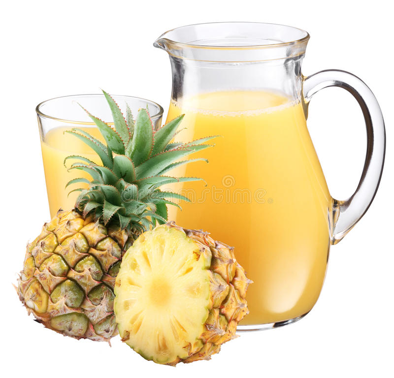 Pineapple juice and fruit. stock photography