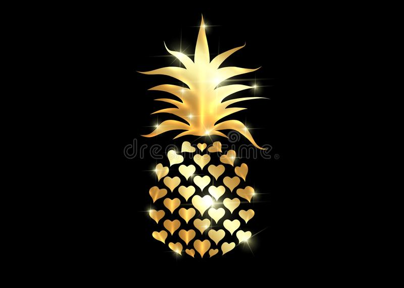 Pineapple with leaf logo icon, heart shape design. Golden Tropical fruit isolated on black background. Symbol of food, sweet, gold royalty free illustration