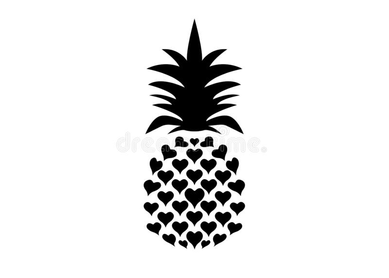 Pineapple with leaf logo icon, heart shape design. Tropical fruit isolated on white background. Symbol of food, sweet, exotic royalty free illustration
