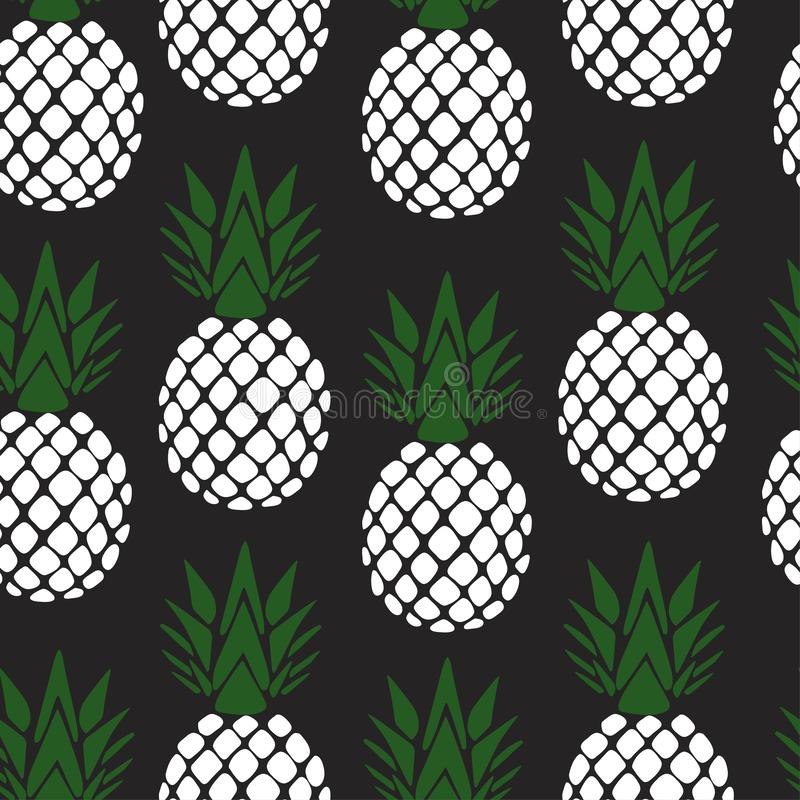 Pineapple leaves print, seamless vector pattern for girls. Girlish pineapple print, black and white background stock illustration