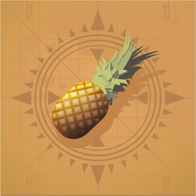 Pineapple. On the map with a compass vector illustration