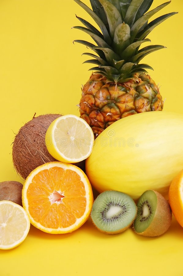 Pineapple and melon and citrus stock photography