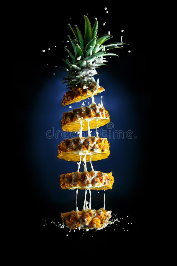 Pineapple with milk against the law of attraction royalty free stock photography