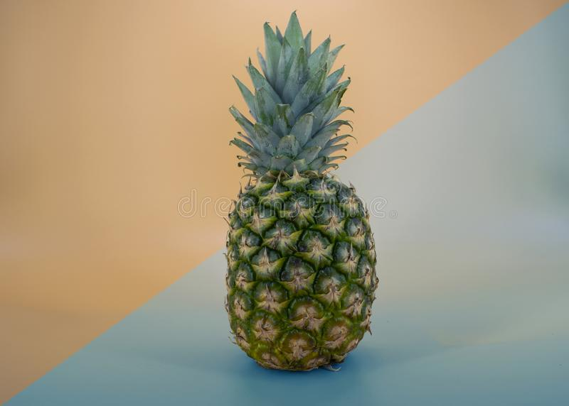 Fresh Pineapple fruit ,modern backraund orang blue royalty free stock photos
