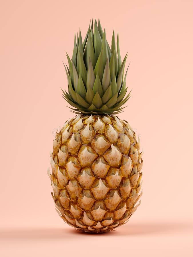 Free Pineapple On Pink Background 3D Rendering Royalty Free Stock Image - 115651426