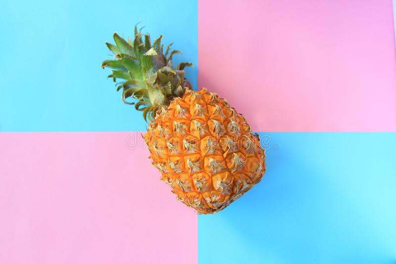 Pineapple On The Pastel Colors Background Blue Light Pink Minimal Style stock photo