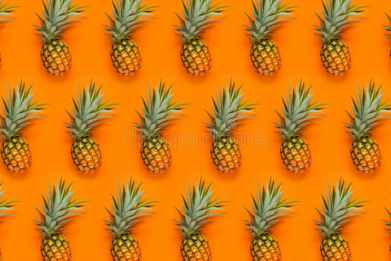 Pineapple pattern Orange background cool wallpaper stock image