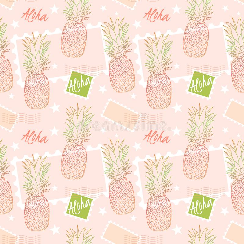 Pineapple and postage stamps, seamless pattern on a sorbet pink background. Aloha means Hello in Hawaii. Fruit delivery stock illustration