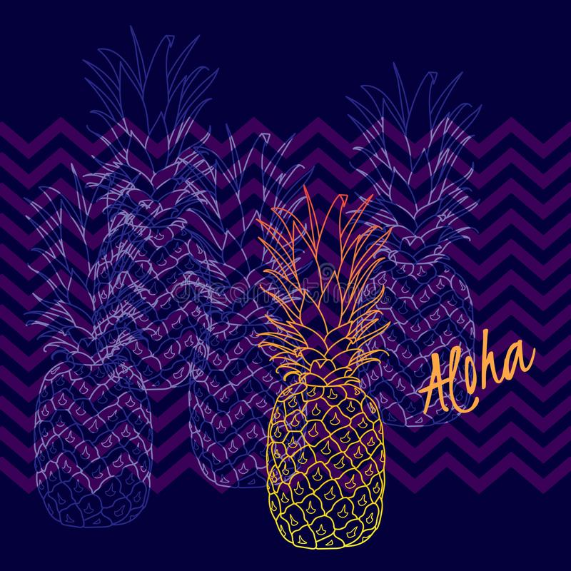 Pineapple poster, vector illustration. Hand drawn exotic tropical fruit in outline. Aloha means Hello in Hawaii royalty free illustration