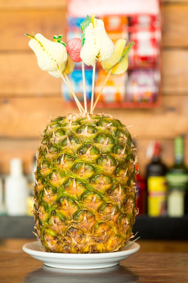 Pineapple ready to be cutted royalty free stock photo