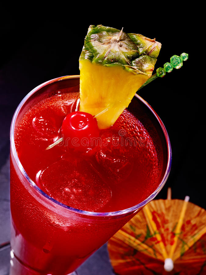 Free Pineapple Red Cocktail With Cherry And Umbrella Royalty Free Stock Image - 52809816