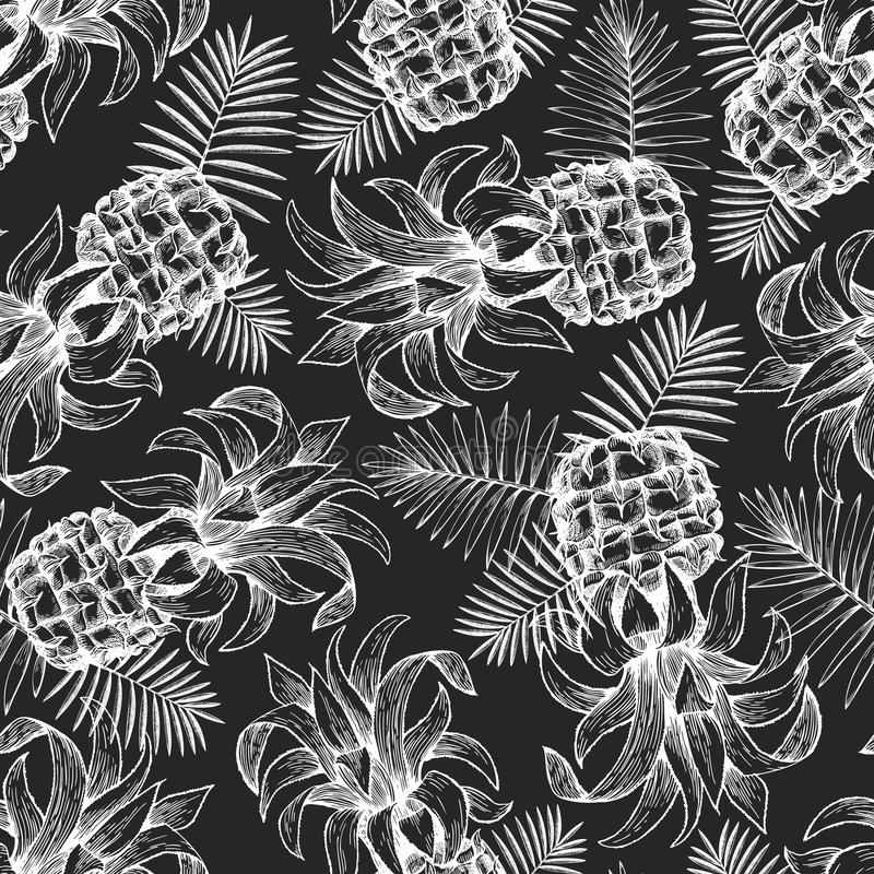 Pineapple seamless pattern. Hand drawn vector tropical fruit illustration on chalk board. Engraved style ananas fruit. Retro vector illustration