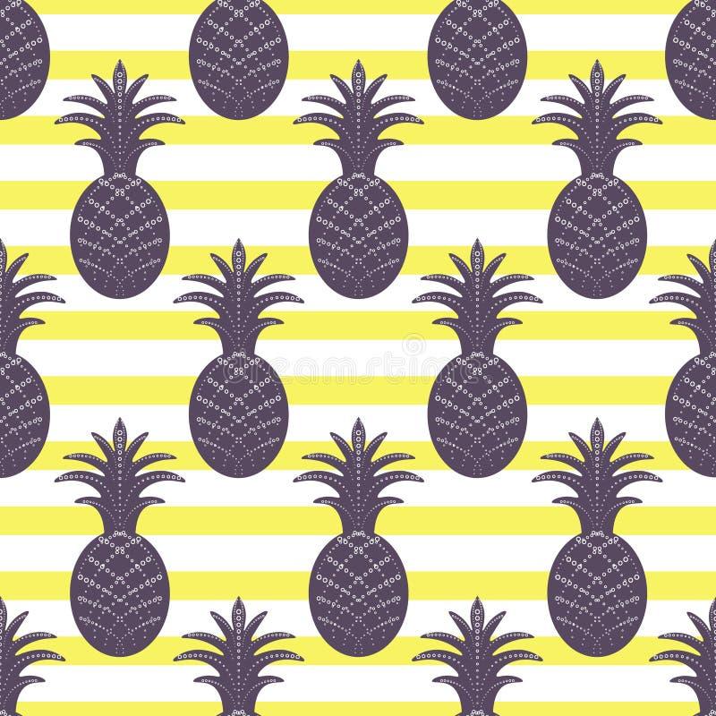 Pineapple seamless pattern on stripe background stock illustration