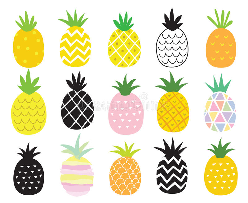 Pineapple Set. Vector illustration set of pineapple in different styles royalty free illustration