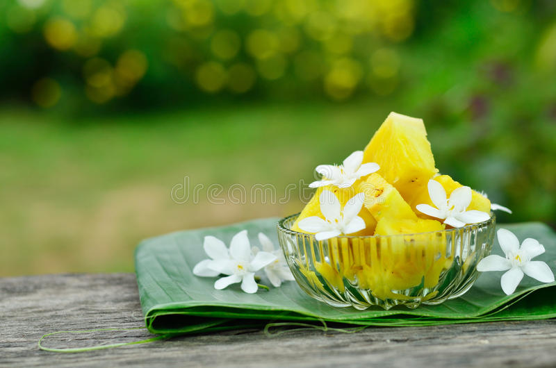 Pineapple slice at garden. Pineapple slice and flower at home garden stock photos