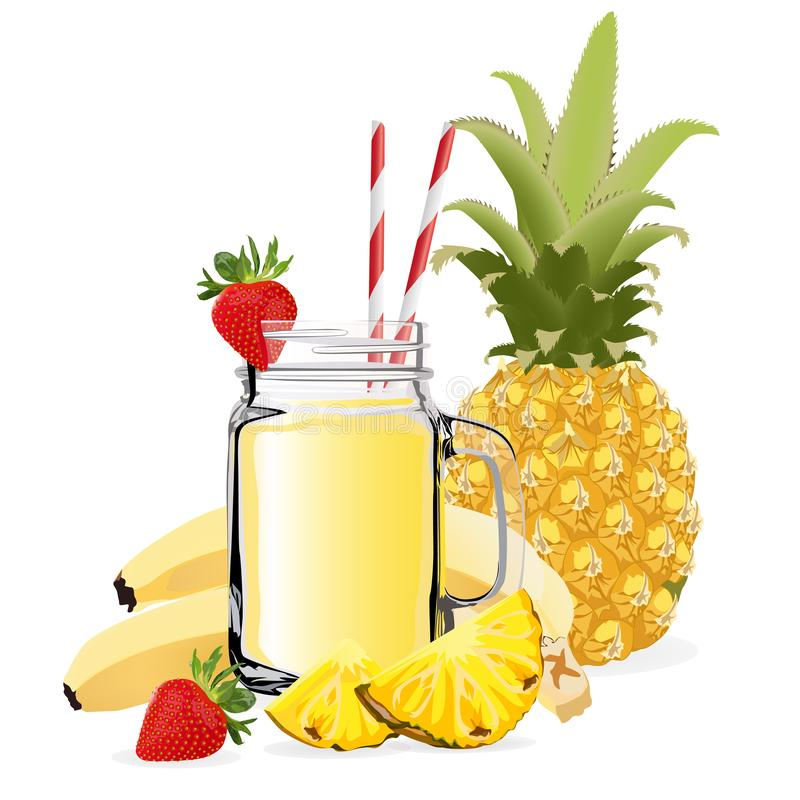 Pineapple smoothie. Healthy lifestyle concept. Vector illustration. Isolated on a white background stock illustration