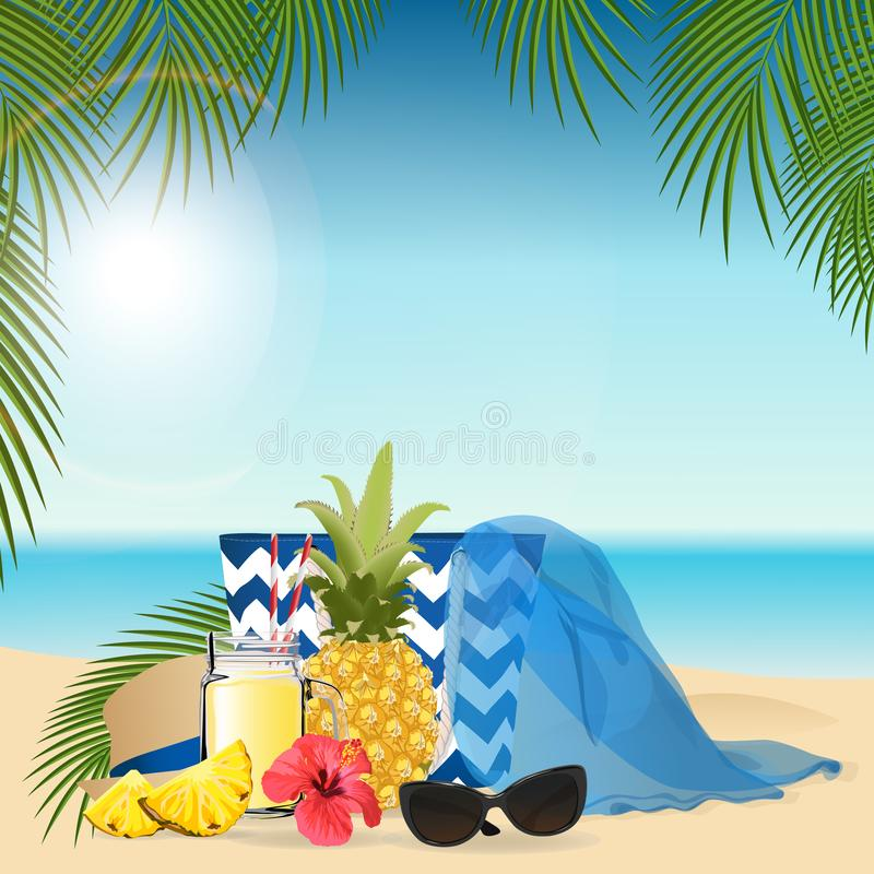 Pineapple smoothie. Healthy lifestyle concept. Vector illustration.  stock illustration