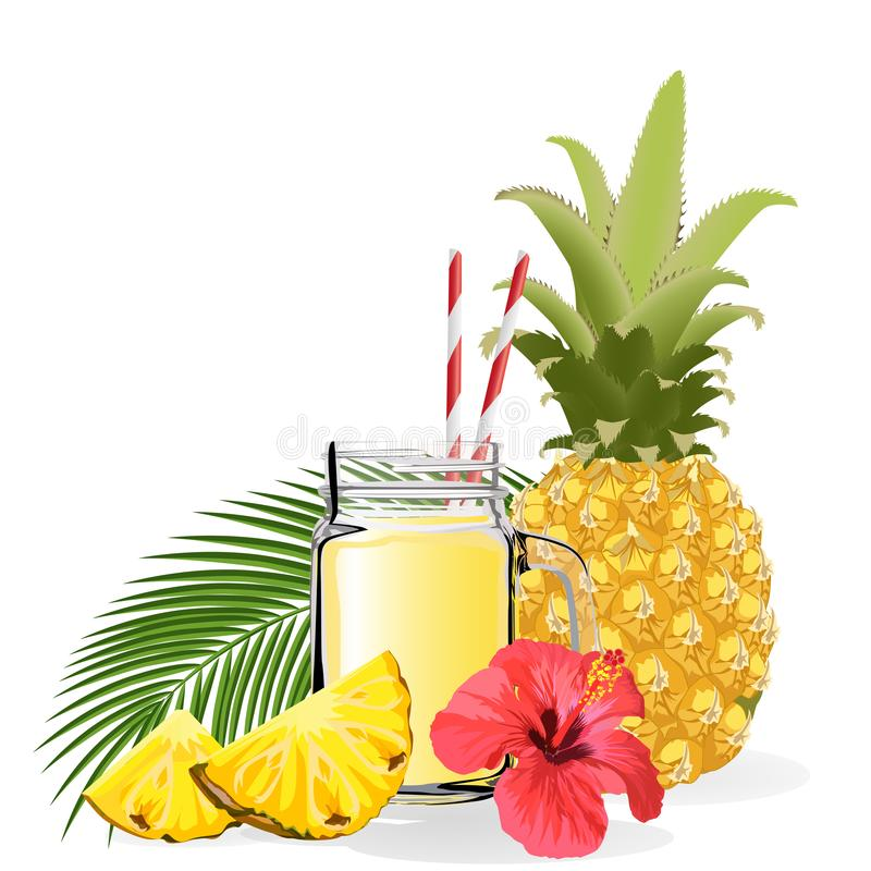 Pineapple smoothie. Healthy lifestyle concept. Vector illustration. Isolated on a white background royalty free illustration